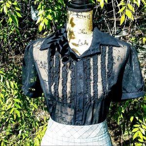 Goth style sheer black ruffled blouse